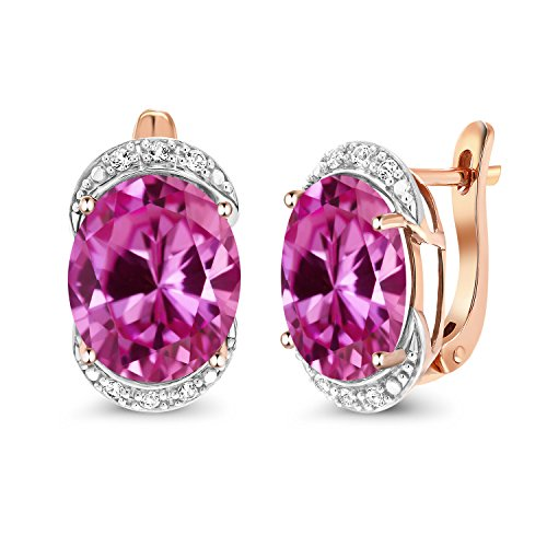 Gem Stone King 12.14 Ct Pink Created Sapphire with Diamond Accent 10K Rose Gold Earrings (Diamond Engagement Rings With Pink Sapphire Accents)