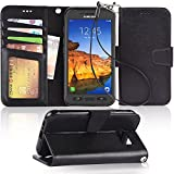Arae Samsung Galaxy S7 Active Wallet case with Kickstand and flip cover (not for s7), Black