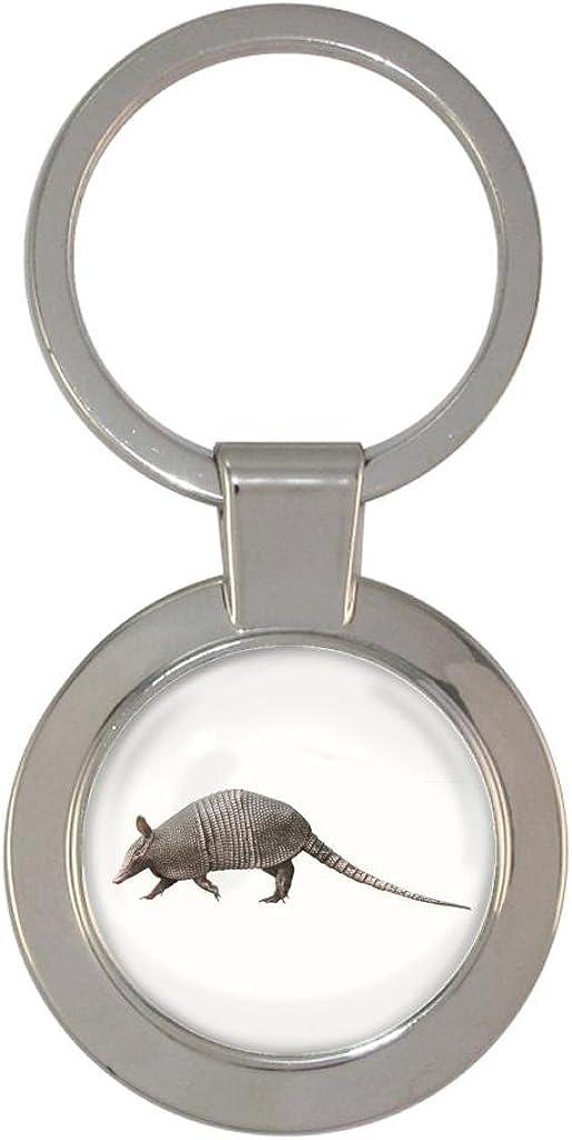 Banded Armadillo Image Metal Chunky Keyring in Gift Box