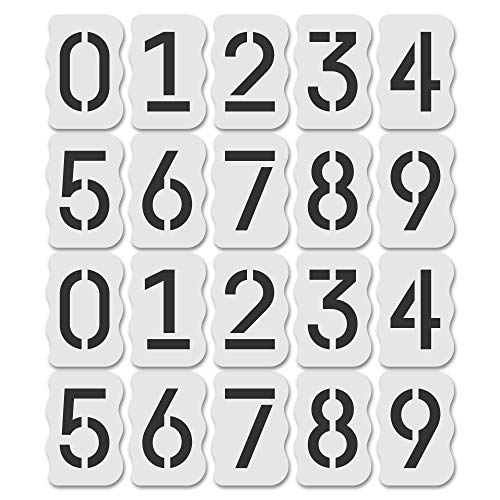 Curb Stencil Kit for Address Painting, All Numbers - 14 Mil Mylar Plastic [4