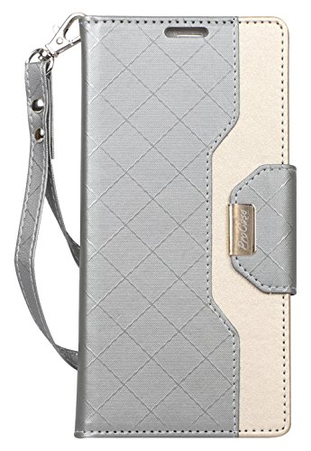 ProCase Galaxy Note 9 Wallet Case, Flip Kickstand Case with Card Slots Mirror Wristlet, Folding Stand Protective Cover for Samsung Galaxy Note 9 2018 -Grey