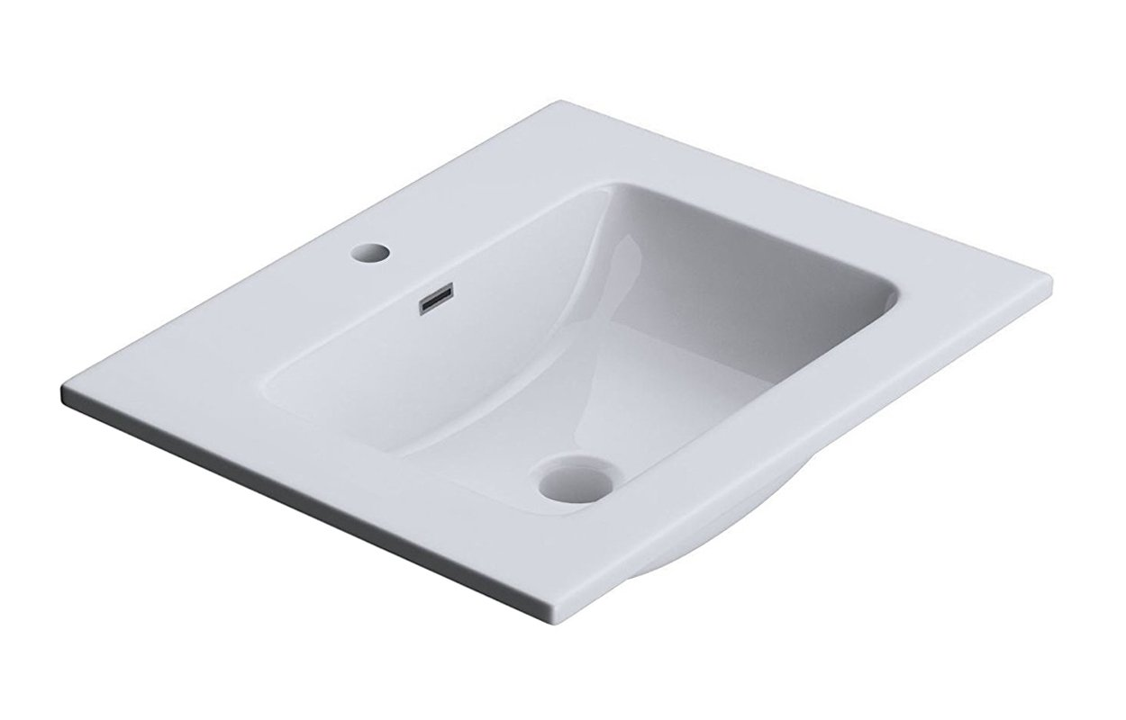 Durovin Bathrooms Luxurious Cast Stone Wash Basin | Self Rimming Drop-in Sink | Semi Recessed | One Tap Hole with Overflow