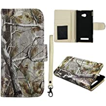 Camo Pine Leather Flip Case ID Pouch HTC Windows Phone 8X / Accord / Zenith 6990 AT&T , T-Mobile , Verizon Hard Case Snap-on Hard Shell Protector Cover Phone Hard Case Case Cover Faceplates