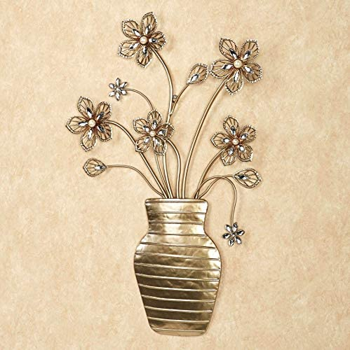 Touch of Class Flower Bouquet Vase Metal Wall Decor Art Sculpture Display Champagne Gold