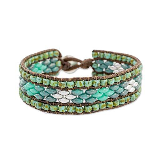 Pewter Beaded Bracelets - NOVICA Glass Pewter Beaded Bracelet, 7