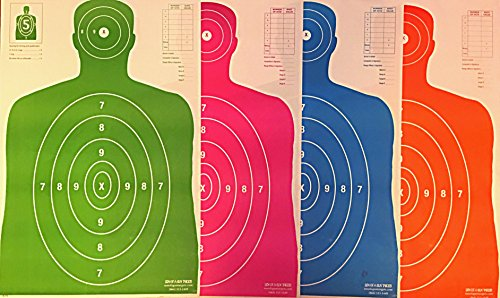 SON OF A GUN Paper Shooting Targets, HIGH SHOT PLACEMENT VISIBILITY, LIFE SIZE B-27 Silhouettes, Four Color Combo Package, 25 Each-100 Total Count, GET MORE BANG FOR YOUR BUCK! BEST PRICES ANYWHERE! -  Son of a Gun Targets, B27E-CGOP