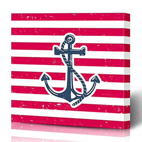 Ahawoso Canvas Prints Wall Art 16x16 Inches Sea Red Rope Anchor Nature Blue Marine Label Black Color Catamaran Design Decor for Living Room Office Bedroom