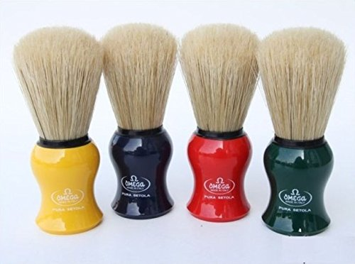 Omega 10065 Boar Bristle Shaving Brush, Assorted Colors Boar Shaving Brush