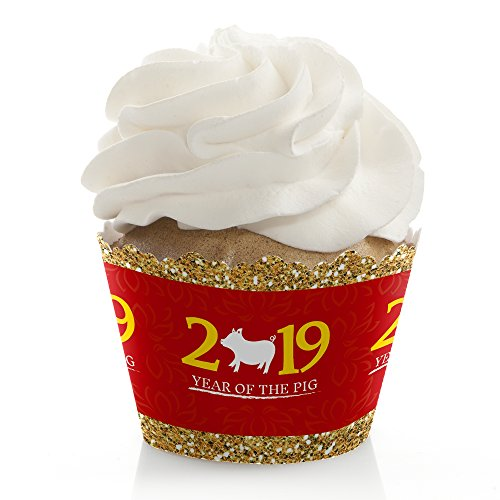 Chinese New Year - 2019 Year of The Pig Party Decorations - Party Cupcake Wrappers - Set of 12 -