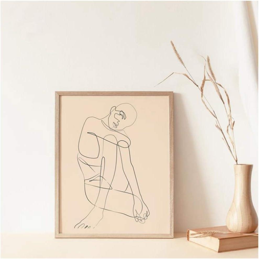 NO BRAND Cuadro en Lienzo Mujer Cuerpo Línea Fina Impresión Arte Abstracto Dibujo Imagen Arte de Pared escandinavo 40x50cm (15.7