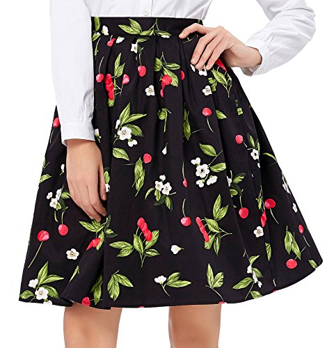 Cherry Print Retro Skirt for Women Knee Length Size S - Grace Cherry