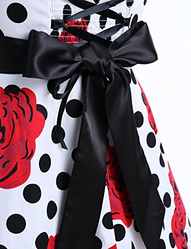 Dressystar Vintage Polka Dot Retro Cocktail Prom Dresses 50's 60's Rockabilly Bandage White Black Rose L