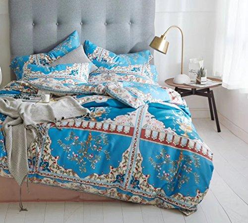 (Luxury Duvet Cover Vintage Portuguese Tiles Multicolored Azulejos Medallion Denim Blue Pattern 3 Piece Cotton Bedding Set (King, Azure))