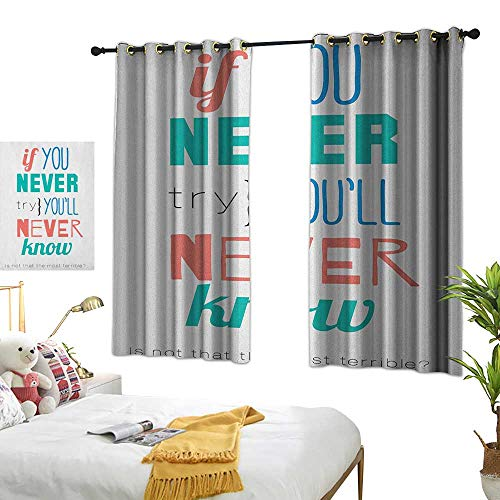 Black Post Jade Green Sign - LsWOW Bedroom Curtains W63 x L45 Quotes,If You Never Try Youll Never Know Philosophy Inspiration Modern Sign, Coral Blue Jade Green Thermal Insulated Blackout Curtains