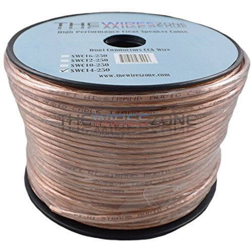 Awg Clear Jacket Speaker Cable (The Wires Zone SWC14-250 Clear Transparent, 250', 14 Gauge, AWG Speaker Wire Cable for Car Home Audio)