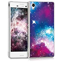 kwmobile Case for Sony Xperia M4 Aqua - TPU Silicone back cover case mobile phone protective case - Clear cover Design Outer space multicolor dark pink black