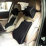 Valuetom Car Seat Lumbar Back Support Cushion Neck Pillow Memory Foam Lumbar Support for Lower Back Pain (Black)