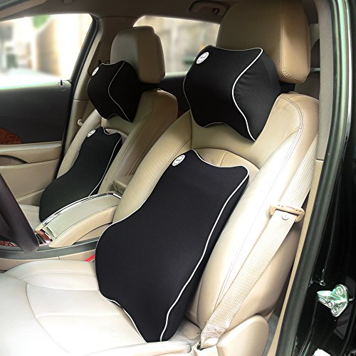 Valuetom Car Seat Lumbar Back Support Cushion Neck Pillow Memory Foam Lumbar Support for Lower Back Pain (Black)