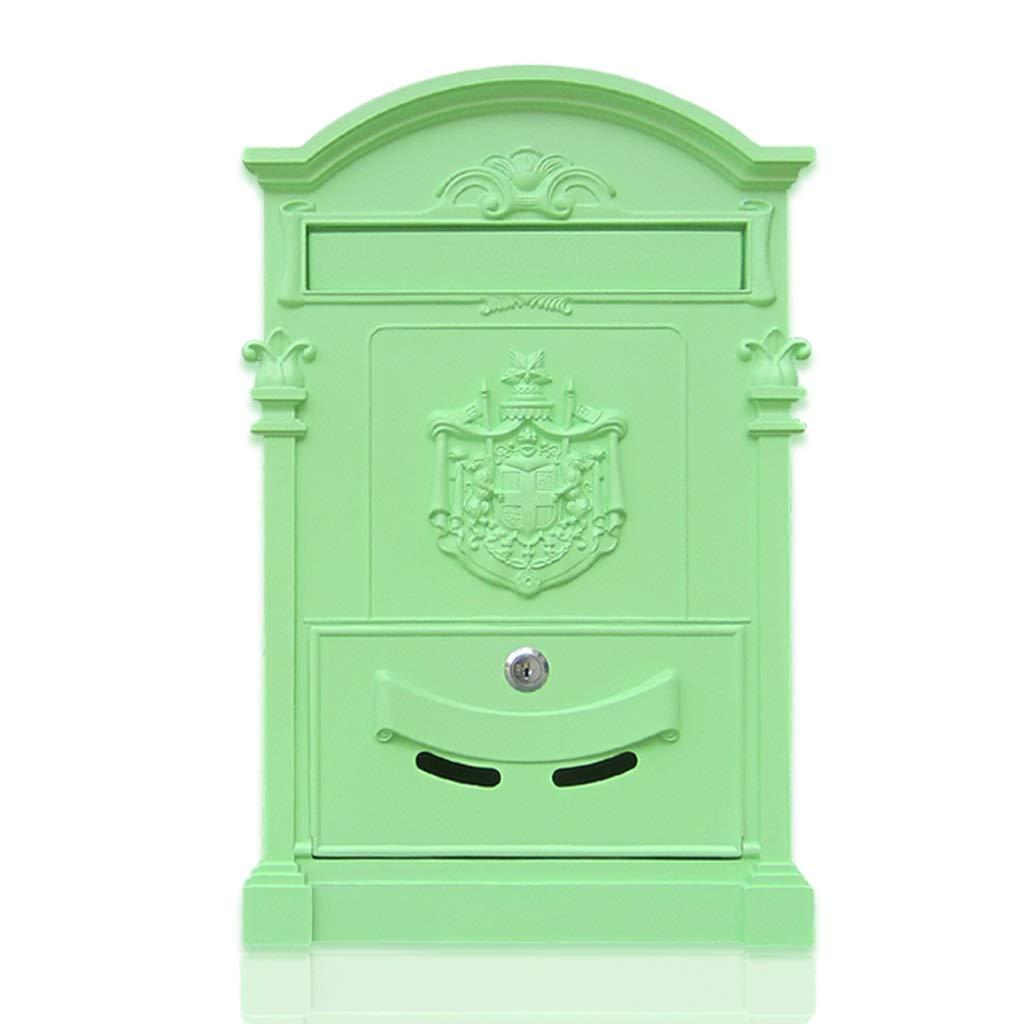 CJH Retro Wall Hanging Box European Villa Letter Box Outdoor Wrought Iron Mailbox with Lock Mailbox Matcha Green by CJH