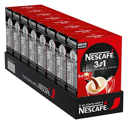 NESCAFÉ 3-in-1 Sticks, löslicher Bohnenkaffee, mit Creamer & Zucker, Instant-Kaffee aus erlesenen Kaffeebohnen, koffeinhaltig, 8er Pack (8 x 165 g)
