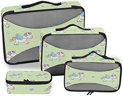 ウイングシープホースハート荷物パッキングキューブオーガナイザートイレタリーランドリーストレージバッグポーチパックキューブ4さまざまなサイズセットトラベルキッズレディース