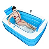 Blue Adult Portable Folding Inflatable Bathtub comfortable soaking tub children's inflatable pool bathroom home SPA