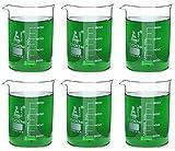 Eisco Labs Beaker - 1000mL, Borosilicate Glass, 100mL graduation Low form - Pack of 6