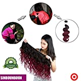 Cheap 3 pcs One Donator Double Sided Two Tones Black to Burgundy Body Wave Bundles with Short Closure Water Wave Wet and Wavy Weave Remy Hair Extensions 100% Human Hair sew-in(14″ 16″ 18″ & Closure 12″)
