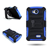 Tribute Transpyre Optimus F60 Case, CoverON® for LG Tribute (LS660) / Transpyre (VS810PP) / Optimus (F60) Belt Clip Holster Case [Explorer Series] Hybrid Heavy Duty Protective Phone Cover with Kickstand - Blue/ black