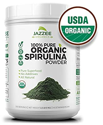 100% Pure Organic Spirulina Powder | 2.2 Pounds (1 KG) | Super Value | USDA Certified Organic | Non-GMO and All-Natural | Mess-Free Wide Mouth Container | Vegetarian/Vegan