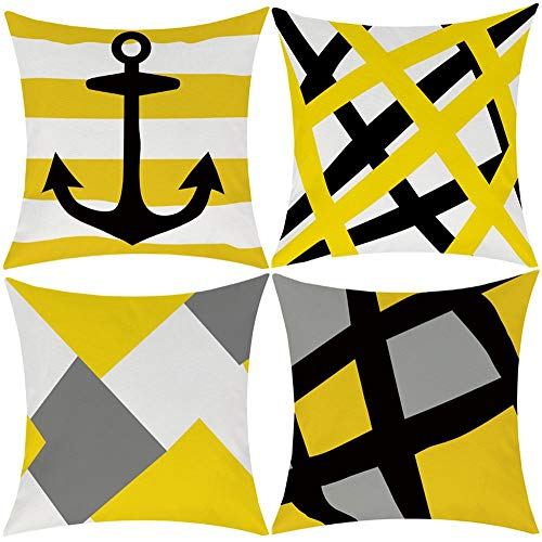 EZVING Yellow Black Strip Anchor Throw Pillow Covers, Decorative Pillowcase Cushion Covers Case for Couch Car Sofa Bed 18 x 18 Inch Set of 4 (Large Cushions Yellow)
