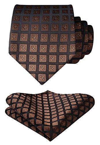 Check Woven Silk Tie - Enmain Check Jacquard Woven Men's Wedding Silk Tie Pocket Square Necktie Set Brown