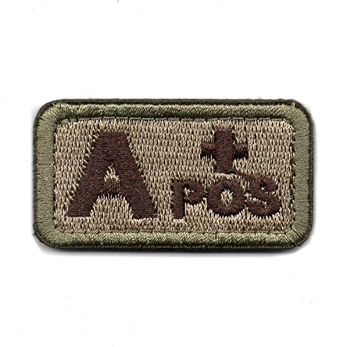 Tactical Blood Type A+ Positive POS Hook and Loop Patch Embroidered Morale Military Badge for Outdoors (Coyote Brown A+) (Velcro Type)