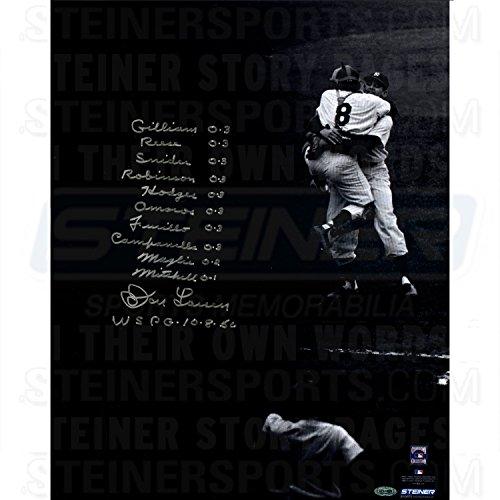 Don Larsen World Series - Don Larsen Signed World Series Perfect Game 16x20 Photo w/Box Score Insc