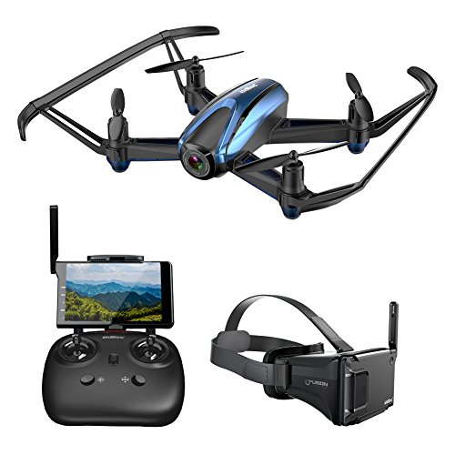 Potensic Drone with Camera, FPV RC Quadcopter 720P HD Live Vide with 5 Inch Screen Monitor, Headless Mode & Altitude Hold Function -VR Goggles Equipped (Blue)