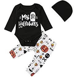 My 1st Halloween Clothes Newborn Baby Girl Boy Long Sleeve Romper Long Pants Set Kids Outfits (Multi, 70/0-6M)
