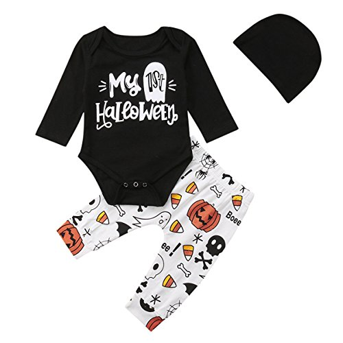 My 1st Halloween Clothes Newborn Baby Girl Boy Long Sleeve Romper Long Pants Set Kids Outfits (Multi, 70/0-6M)]()