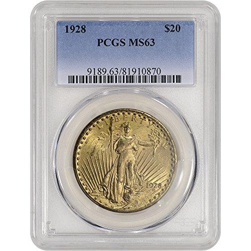 1928 US Gold Saint-Gaudens Double Eagle Gradient Blue $20 MS63 (Pcgs 20 Coin)