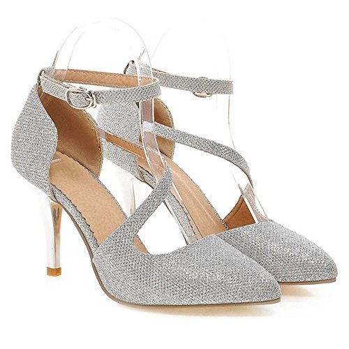 Ankle Heel Sandals Strap FizaiZifai High Women Silver 045Cnnq7