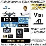 Amplim High Endurance 128GB MicroSDXC Card with Adapter for Video Monitoring Cameras - Dash Cam, Body Cam, Surveillance Cam, Home Security Cam, Drone, Action Camera
