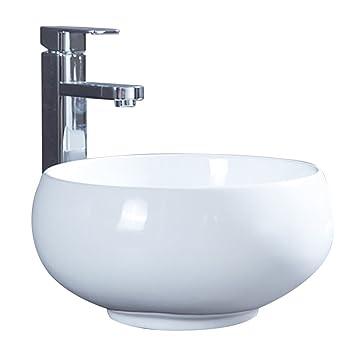 Waschbecken rund  Keramik Waschbecken Rund - HomeLava Aufsatzwaschbecken mit Pop up ...