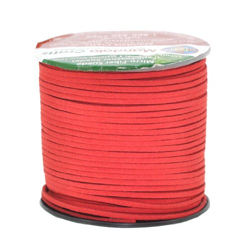 (Mandala Crafts 100 Yards 2.65mm Wide Jewelry Making Flat Micro Fiber Lace Faux Suede Leather Cord (Red))