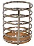 "Chrome Utensil Holder Caddy W/bamboo Base. 5"" Dia X 7.5"" H"