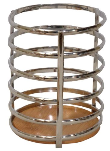 "Chrome Utensil Holder Caddy W/bamboo Base. 5"" Dia X 7.5"" H by GinsonWare (Image #5)"