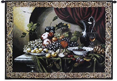 Vintage Still Life by Riccardo Bianchi | Woven Tapestry Wall Art Hanging | Still Life Colorful Grapes Figs Fruit Wine Classic Decor | 100% Cotton USA