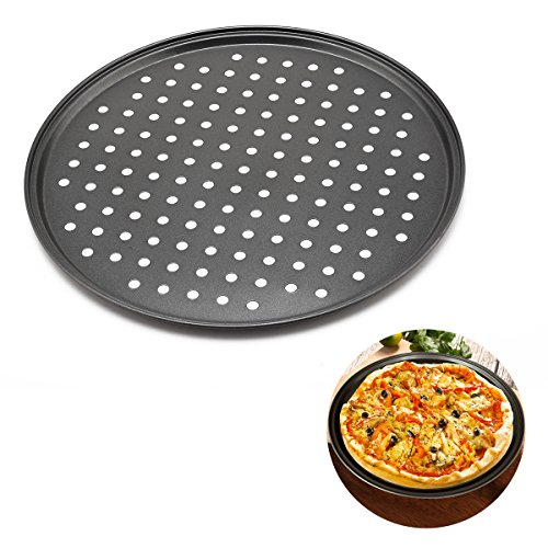 OUBORUI 12Inch Carbon Steel Pizza Pan with Holes Home DIY Baking Tool Round Bakeware Serving Tray