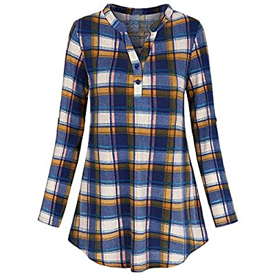 TWGONE Long Plaid Shirts for Women to Wear with Leggings Casual Rolled Sleeve Zipped V-Neck Tunic Tops Blouse