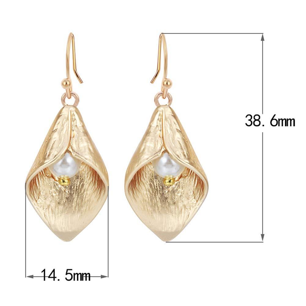 ywbtuechars Women Calla Lily Flower Faux Pearl Drop Hanging Hook Dangle Earrings Jewelry for Ladies Girls