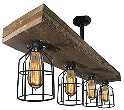 Farmhouse Style Triple Wood Beam Vintage Decor Chandelier Light