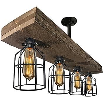 6 Lights Industrial Cage Pipe Pendant Light Litfad Retro